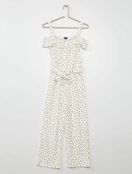 Combinaison en maille gaufrée                                                     blanc
