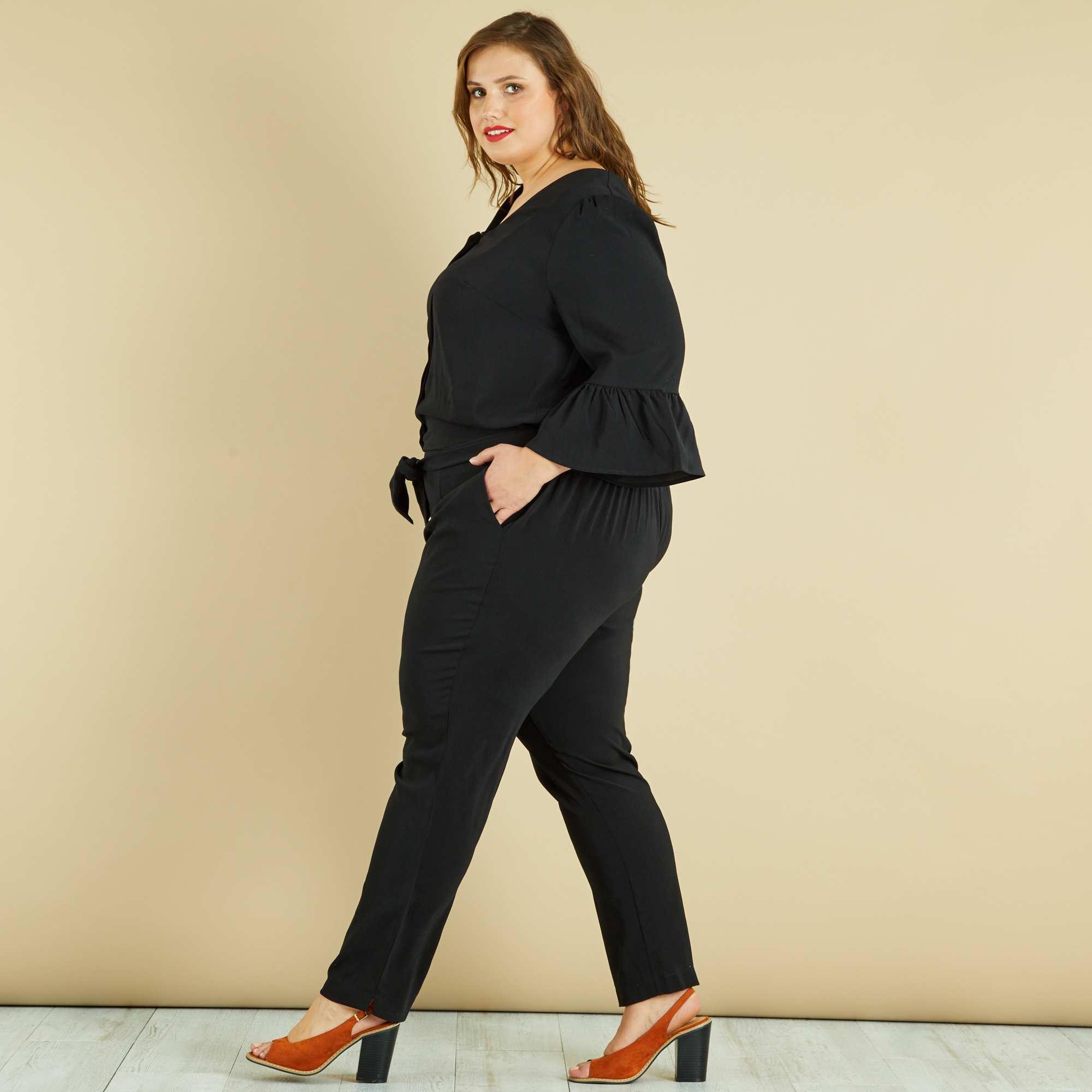 combinaison pantalon manches cloches grande taille femme noir kiabi 30 00. Black Bedroom Furniture Sets. Home Design Ideas