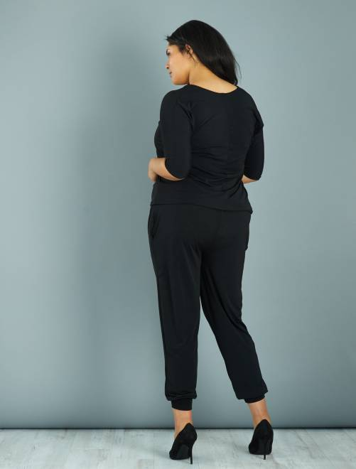 combinaison pantalon encolure zipp e strass grande taille femme noir kiabi 25 00. Black Bedroom Furniture Sets. Home Design Ideas