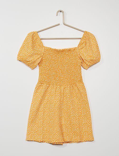 Combishort imprimé 'fleurs'                             jaune