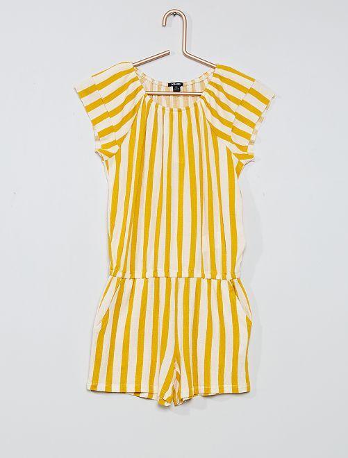 Combishort maille gaufrée                                         jaune rayé