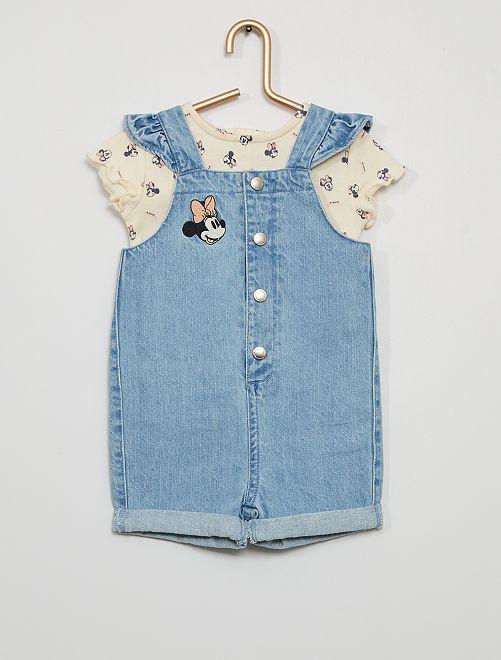 Combishort + t-shirt éco-conçus 'Minnie'                             blanc