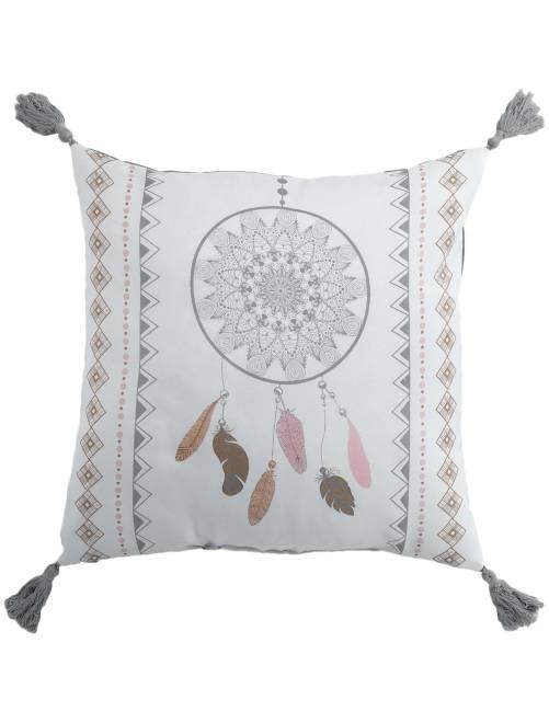 coussin carr imprim 39 attrape r ves 39 linge de lit blanc beige rose kiabi 9 00. Black Bedroom Furniture Sets. Home Design Ideas