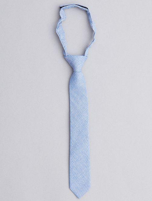 Cravate effet chambray                             bleu Garçon