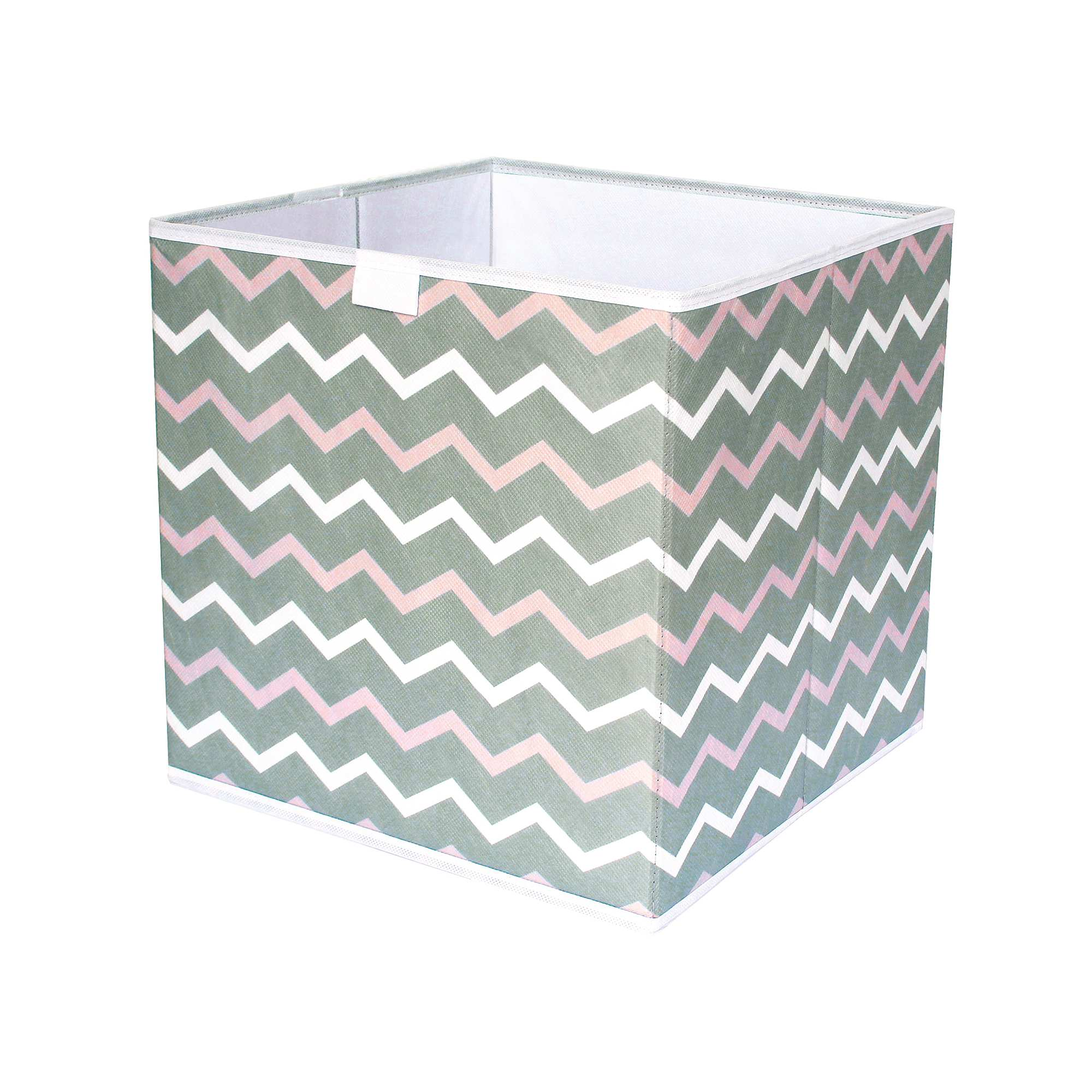 cube de rangement pliable imprim 39 zigzag 39 linge de lit blanc rose taupe kiabi 4 00. Black Bedroom Furniture Sets. Home Design Ideas