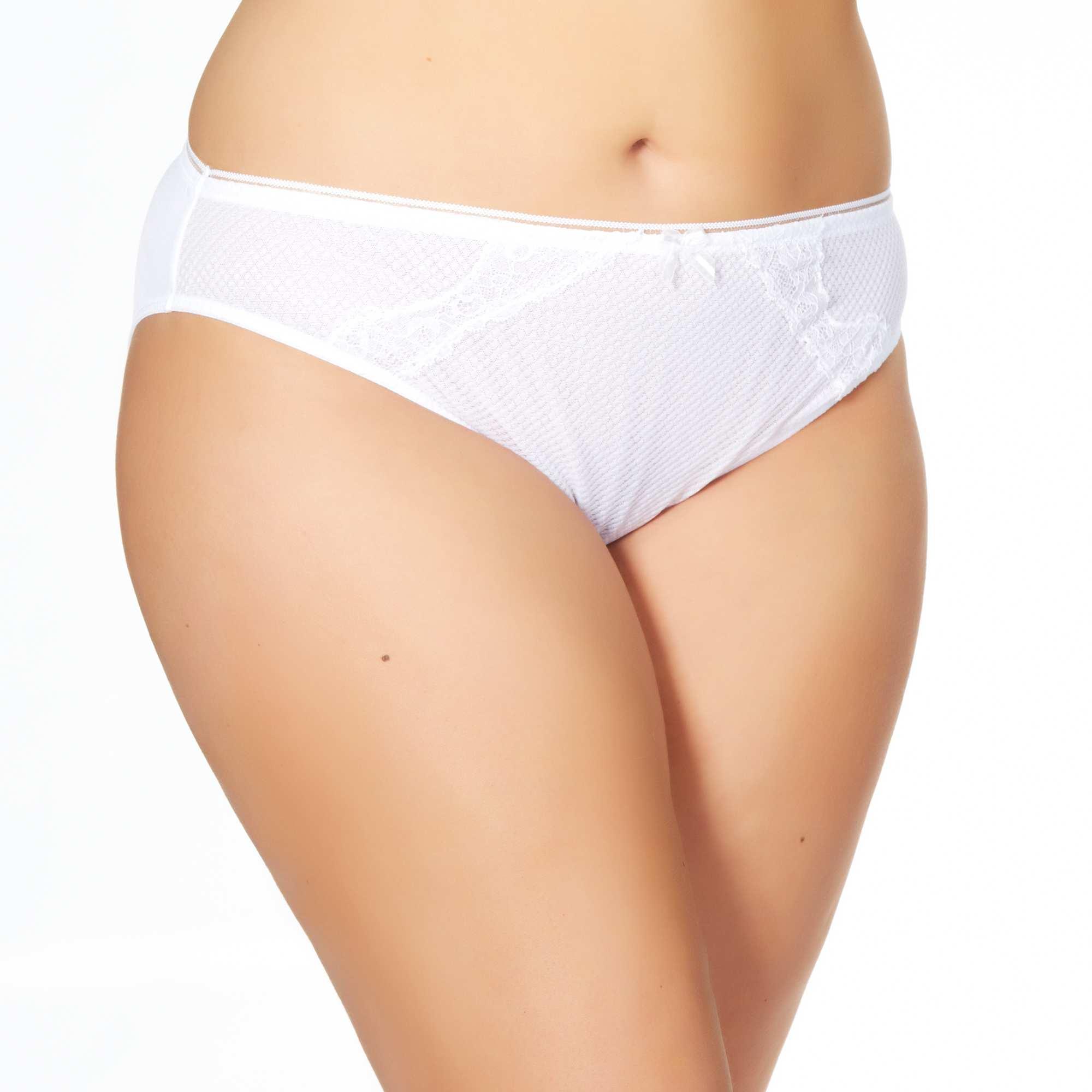culotte tulle et microfibre grande taille femme blanc kiabi 10 00. Black Bedroom Furniture Sets. Home Design Ideas