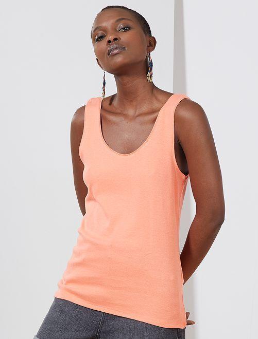 Débardeur col U                                                                                                                                                                  orange corail Femme