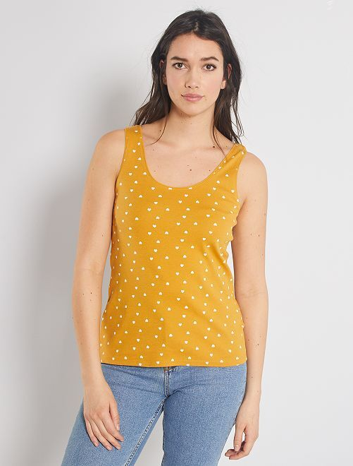 Débardeur coton stretch                                                                                                      jaune imprimé coeurs