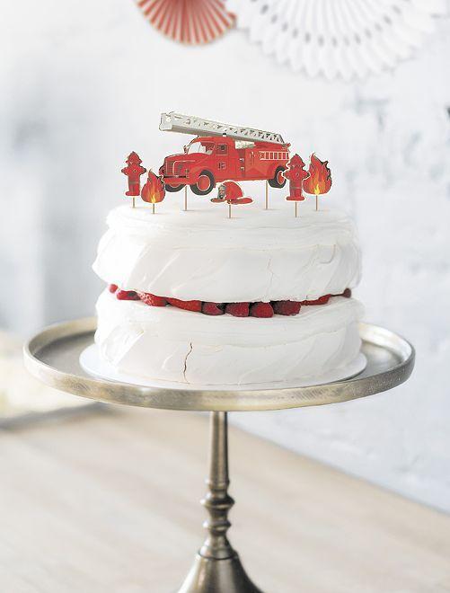 Décoration pour gâteau 'pompiers'                             rouge