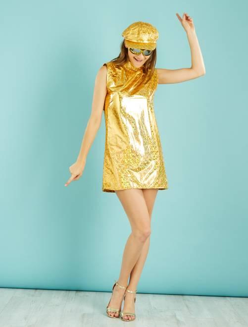 Déguisement de disco                                         doré Femme