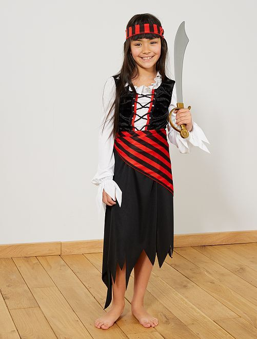 Déguisement de pirate                             noir/rouge Enfant