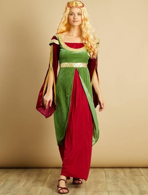 Déguisement de princesse médiévale                             bordeaux/vert Femme
