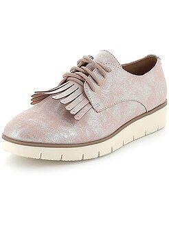 Chaussures - Derbies irisés à plateforme et franges - Kiabi