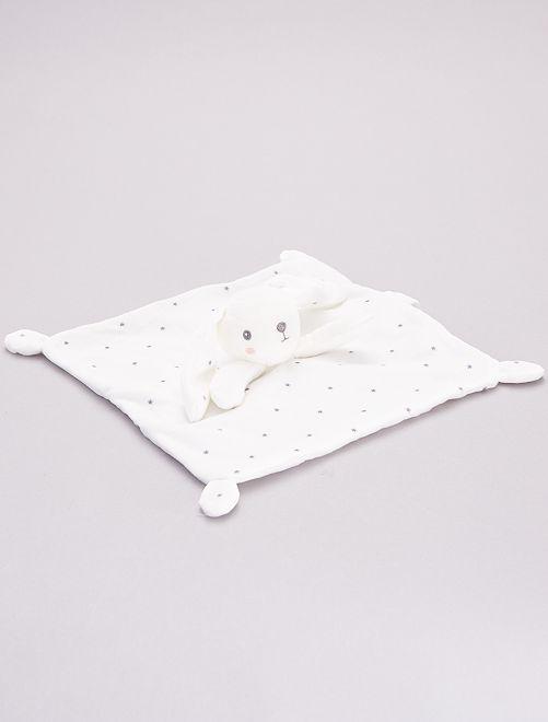 Doudou mouchoir en velours                                                     blanc