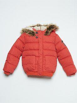 Blouson, veste - Doudoune à capuche matelassée doublée façon sherpa