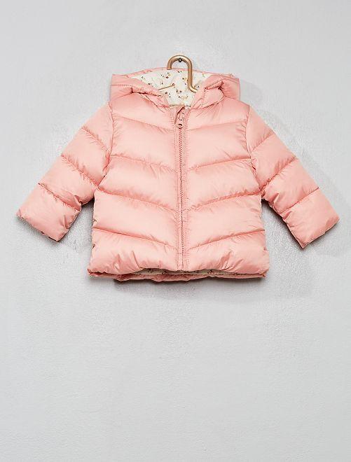 Doudoune zippée avec capuche                             rose