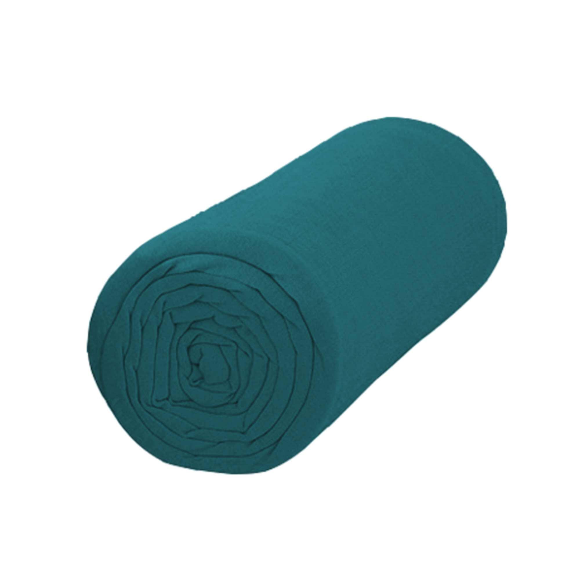 drap housse uni linge de lit bleu kiabi 13 00. Black Bedroom Furniture Sets. Home Design Ideas