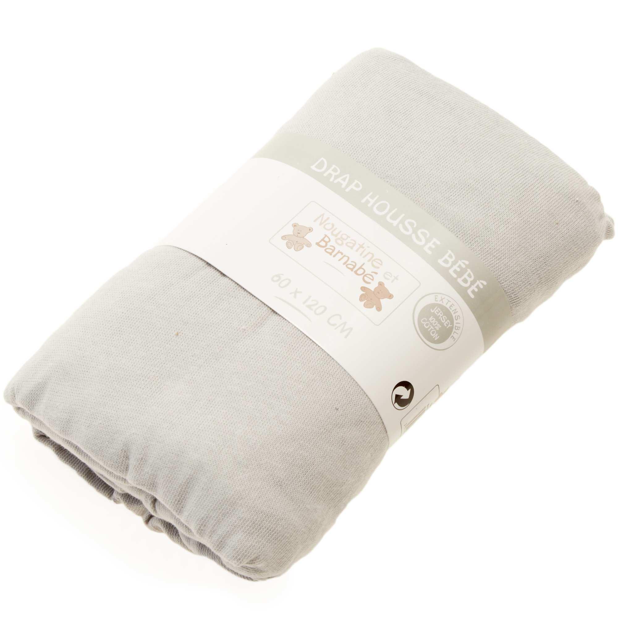 Drap housse uni pour lit bébé Bébé garçon   gris   Kiabi   5,00€