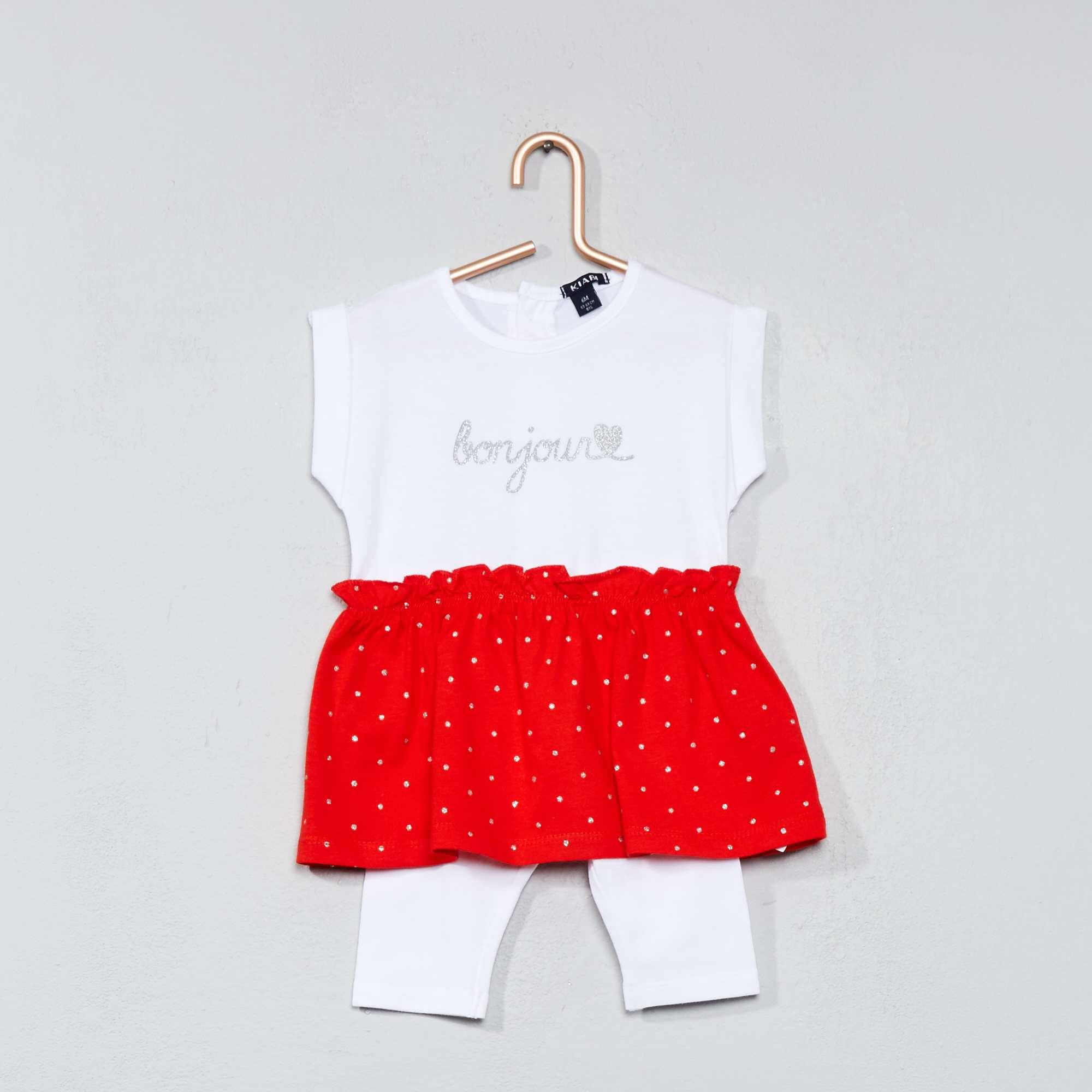 ensemble 2 pi ces robe legging b b fille blanc rouge kiabi 7 00. Black Bedroom Furniture Sets. Home Design Ideas
