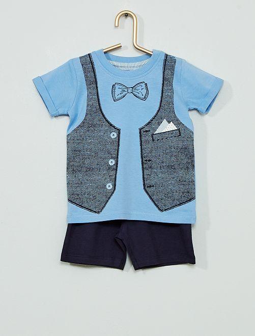 Ensemble 2 pièces Tee-shirt + short                             bleu
