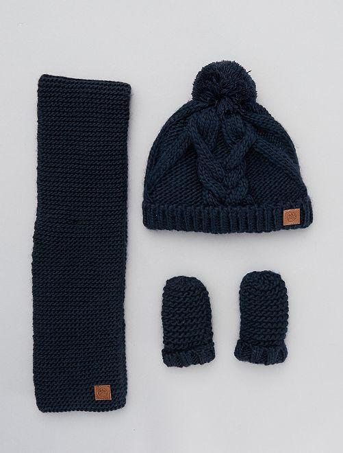 Ensemble bonnet + écharpes + moufles                                         bleu marine