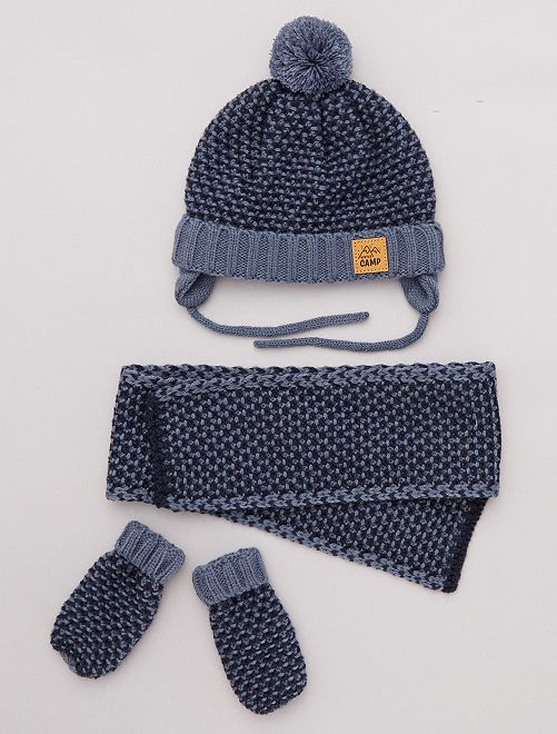 ensemble bonnet moufles charpe b b gar on bleu. Black Bedroom Furniture Sets. Home Design Ideas