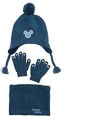 Ensemble bonnet + snood + gants 'Mickey'