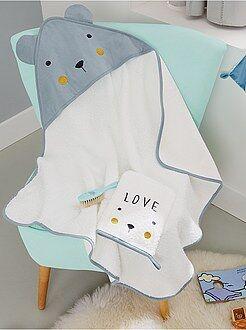 Garçon 0-36 mois Ensemble cape de bain + gant de toilette 'ours'