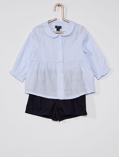Ensemble chemise + short                             bleu