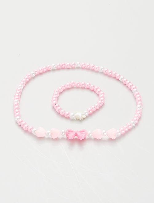 Ensemble collier + bracelet à perles                                         rose
