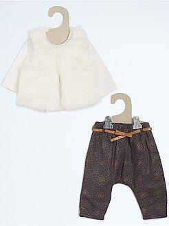 Fille 0-36 mois Ensemble de fête T-shirt + gilet sherpa + sarouel
