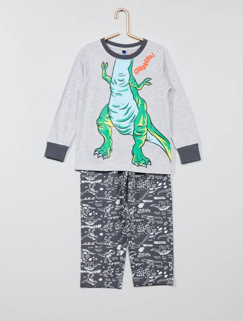ensemble de pyjama 39 dinosaure 39 gar on gris kiabi 12 00. Black Bedroom Furniture Sets. Home Design Ideas