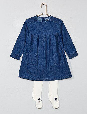 Ensemble robe denim + collants - Kiabi