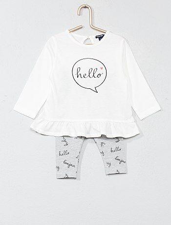 Ensemble t-shirt à basque + legging - Kiabi