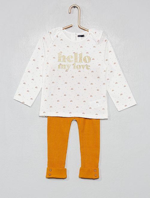 Ensemble T-shirt + legging                                                                             blanc/jaune moutarde