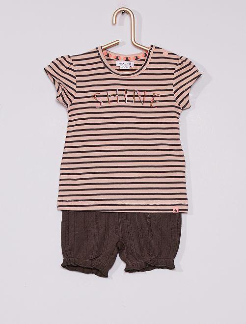 Ensemble t-shirt + short                             rose/gris