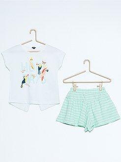 Ensemble tee-shirt imprimé + jupe short