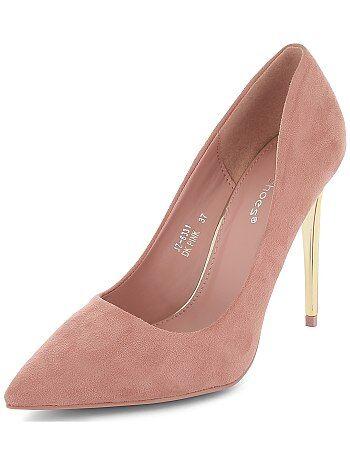 Chaussures - Escarpins en suédine talons dorés - Kiabi