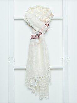 Accessoires blanc - Foulard rectangulaire à rayures