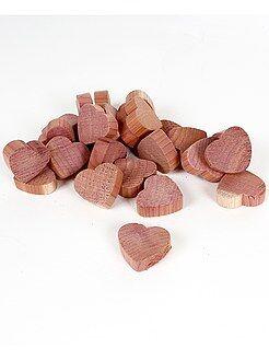 Décoration - Galets 'coeurs' en bois de cèdre anti-mites