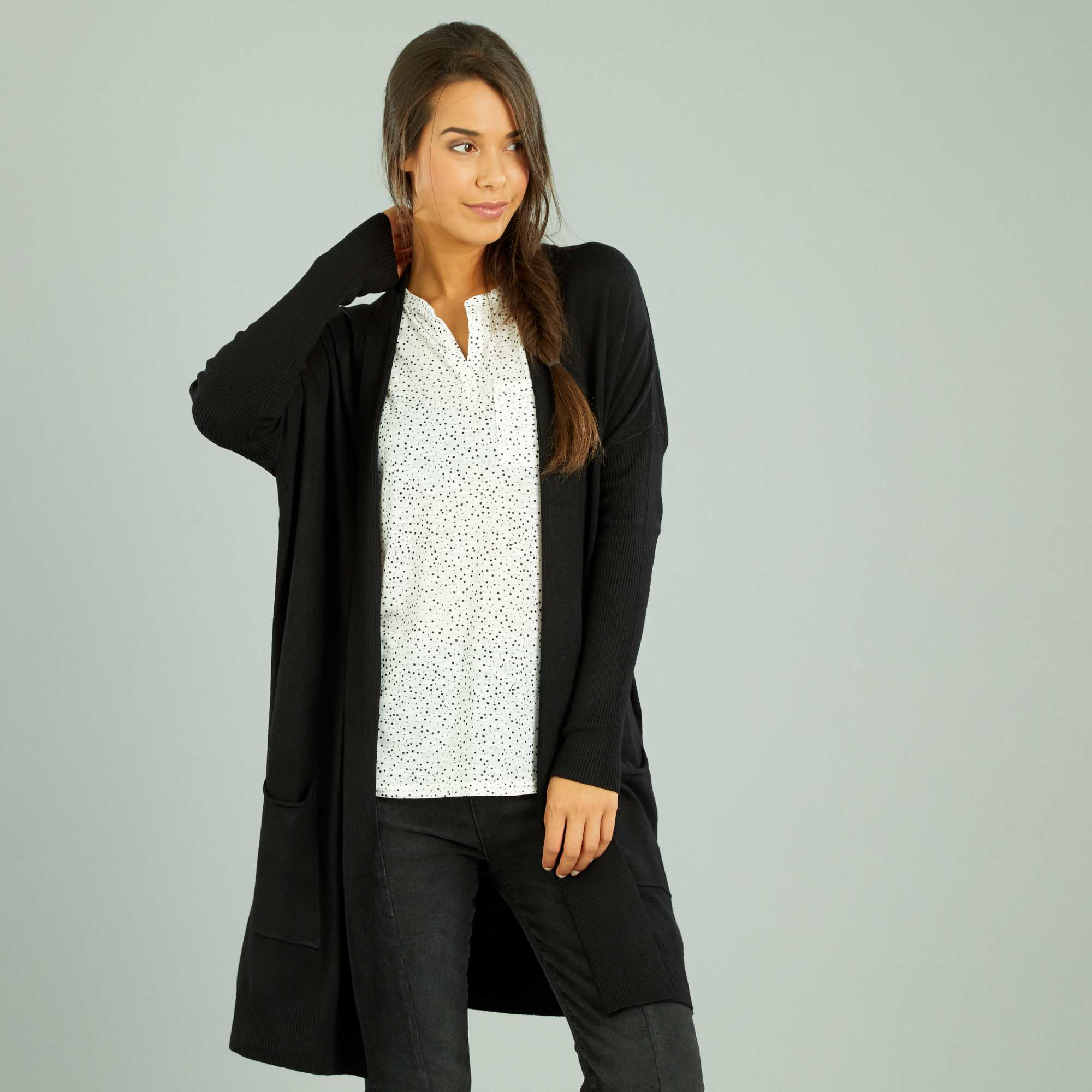6bfdd1b30791 Gilet long noir femme cardigan blanc