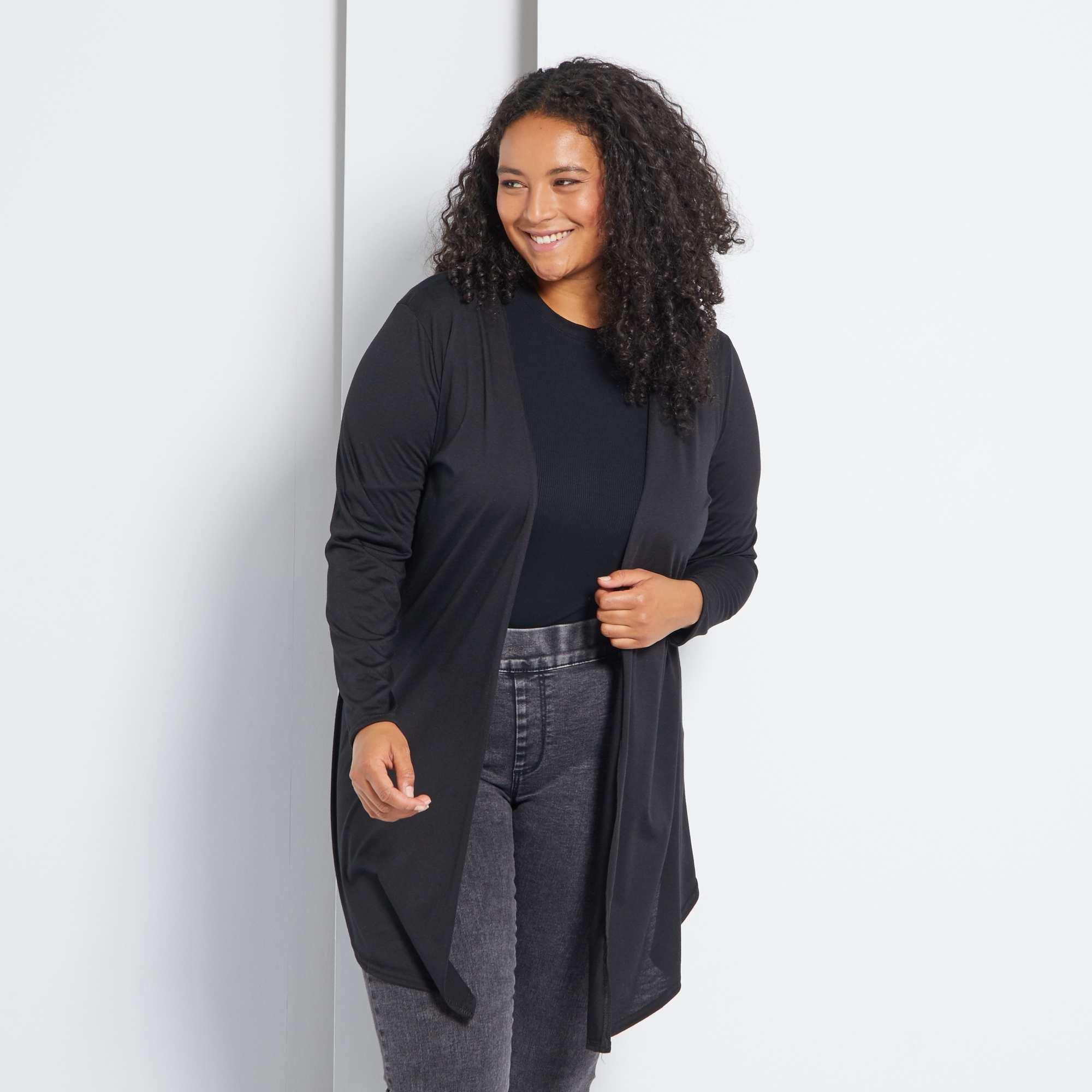 gilet long fluide grande taille femme noir kiabi 13 00. Black Bedroom Furniture Sets. Home Design Ideas