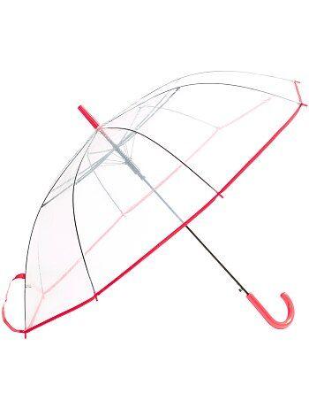 Grand parapluie transparent                     rouge Femme