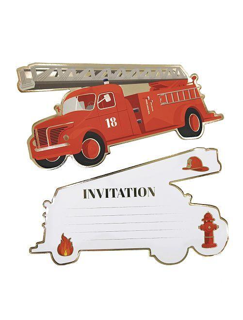 Invitations pour une fête sur le thème 'pompiers'                             rouge