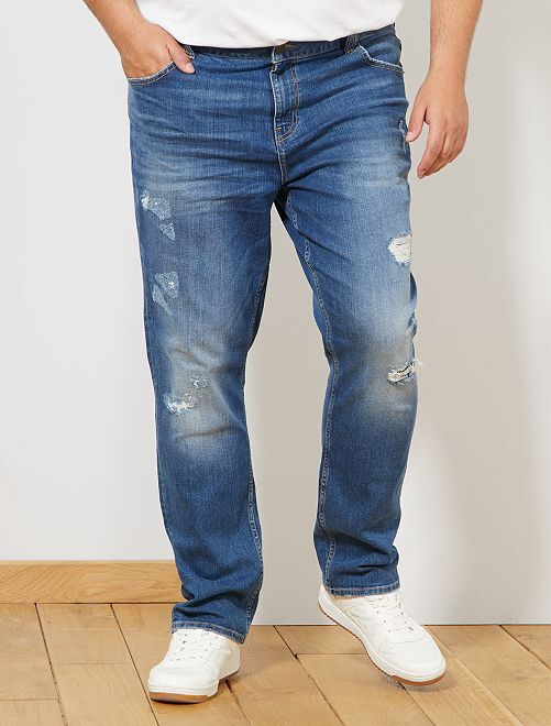 Jean fitted à abrasions                             stone Grande taille homme