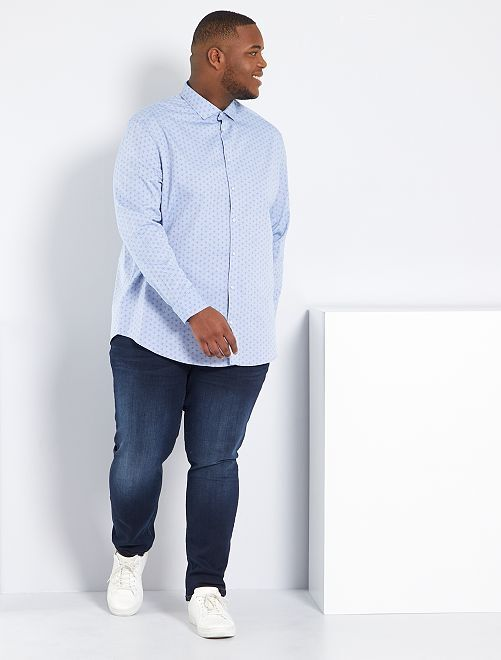 Jean fitted coton stretch                                                     bleu indigo Grande taille homme