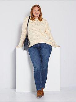 Jean regular, droit - Jean regular en denim stretch longueur 82 cm