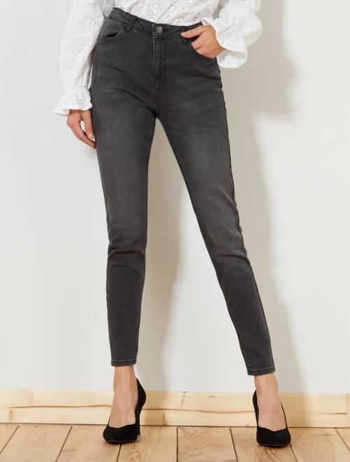 jean skinny taille haute longueur us28 femme double stone kiabi 15 00. Black Bedroom Furniture Sets. Home Design Ideas