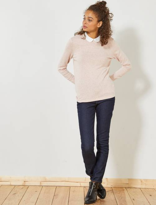 jean slim taille haute doubl e polaire femme bleu d lav kiabi 20 00. Black Bedroom Furniture Sets. Home Design Ideas