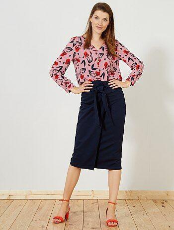 Femme du 34 au 48 - Jupe crayon portefeuille stretch - Kiabi